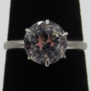 Vintage Size 6 Sterling Clear Spinel Stone Ring